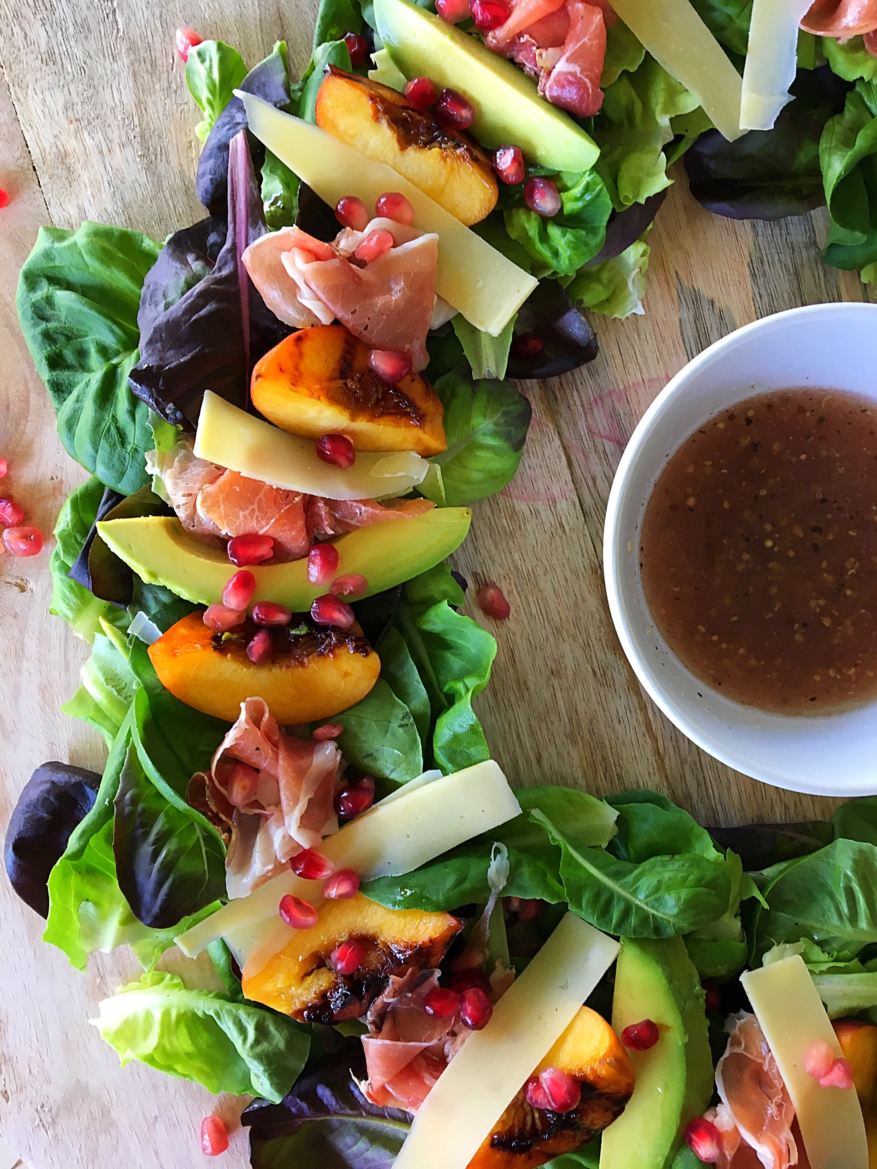 Christmas Wreath Salad With Grilled Peaches Parma Ham Avocado